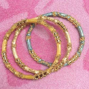 Gold Flake Floral Enamel Bangle Bracelet Set